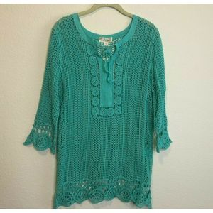 Misia Beach Cover Up Turquoise Mint Open Weave